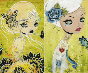 art, flower, and yellow image