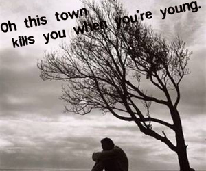black and white, sad, and text image