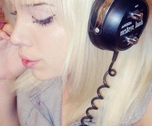 blonde, girl, and music image