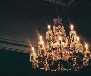 light, chandelier, and vintage image
