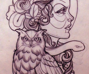 owl, tattoo, and woman image
