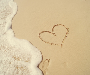 heart, beach, and sand image