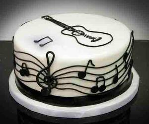 black and white, cake, and guitar image