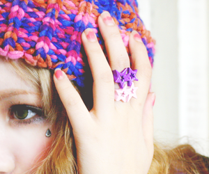 beanie, girl, and green eyes image