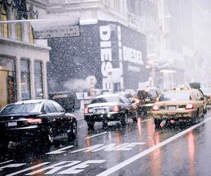 city, car, and rain image
