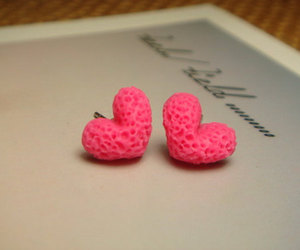 earrings, hearts, and pink image