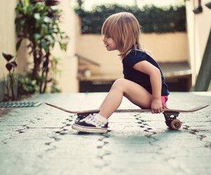 skateboard, baby, and skate image
