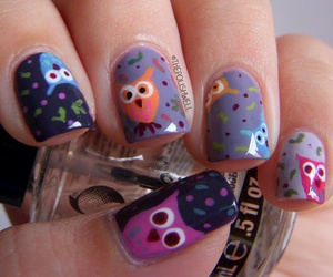 nail art, nails, and owl image