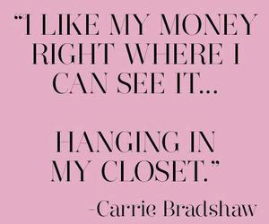 Carrie Bradshaw, money, and shopaholic image