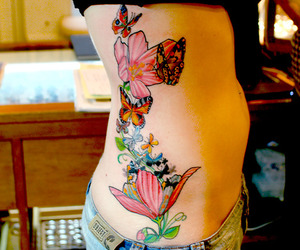 butterflies, flowers, and colorful image