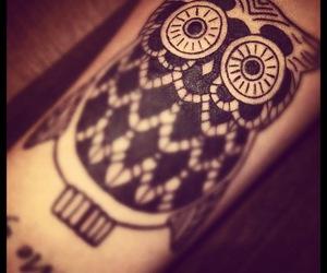 owl, tattoo, and black image
