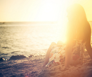 girl, beach, and sun image
