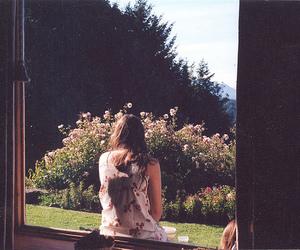 girl, flowers, and window image