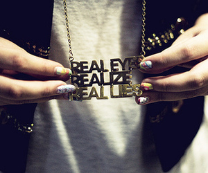 realize, necklace, and lies image