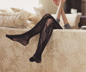 girl, legs, and lace image