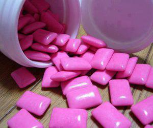 pink, gum, and food image