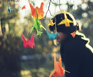 origami, colorful, and paper cranes image
