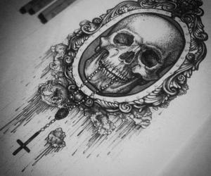 skull, art, and drawing image
