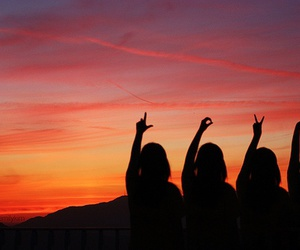 love, friends, and sunset image