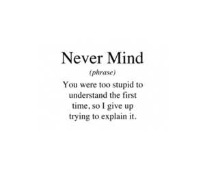 quote, stupid, and never mind image