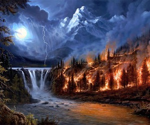 fire, nature, and water image