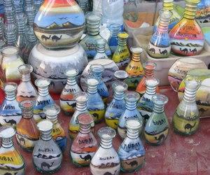 art, blue, and bottles image