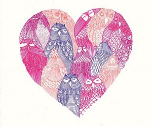 owl, heart, and pink image