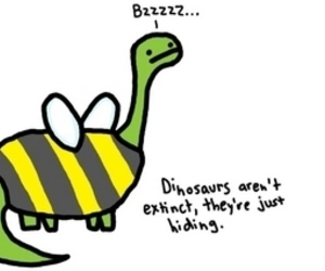 dinosaur, bee, and funny image