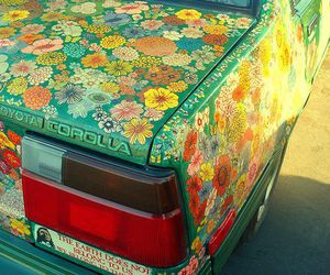 car, teal, and flowers image