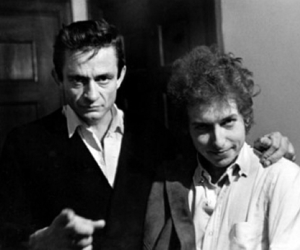 bob dylan, Johnny Cash, and black and white image