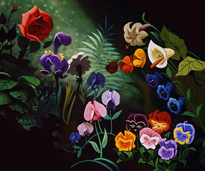 alice in wonderland, flowers, and disney image