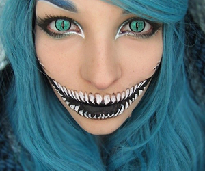 awesome, blue hair, and Cheshire cat image