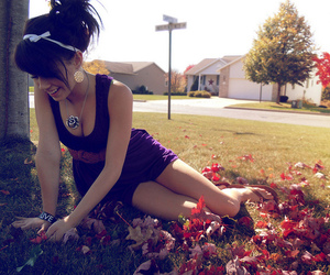 girl, dress, and leaves image