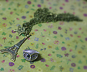eiffel, owl, and necklace image