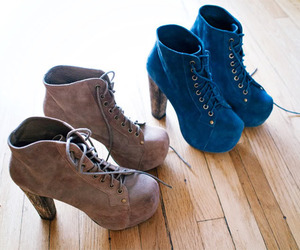 blue, high heels, and brown image