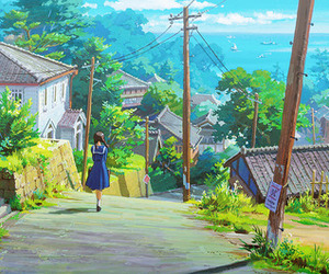 concept art, studio ghibli, and from up on poppy hill image
