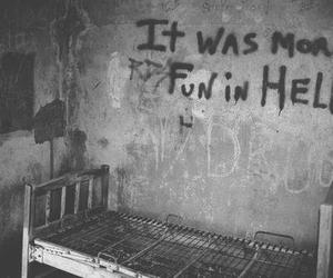 hell, fun, and black and white image