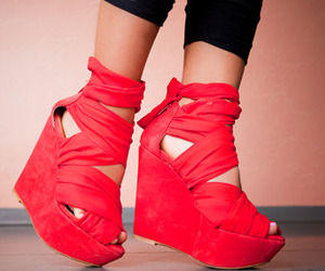 shoes, red, and wedges image