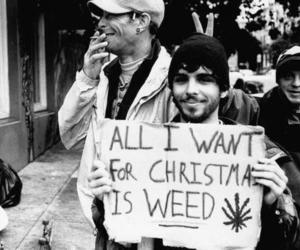 weed, christmas, and black and white image
