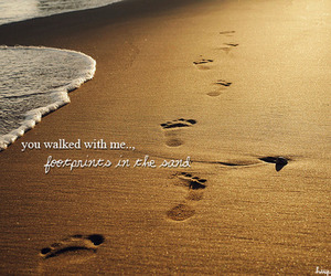 beach, typography, and footprints image