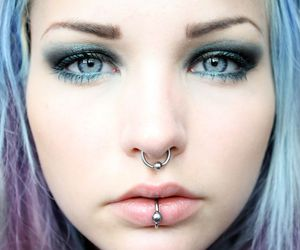 blue eyes, blue hair, and piercing image
