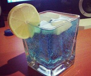 drink, blue, and lemon image