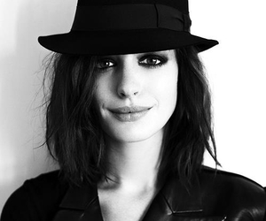 Anne Hathaway, black and white, and hat image