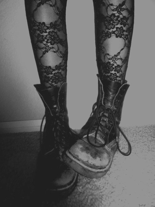 black and white, doc martens, and grunge image