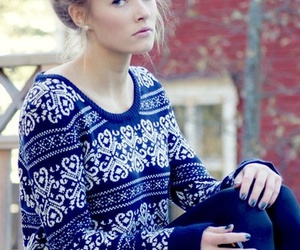 girl, sweater, and blue image