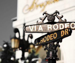 sign, rodeo drive, and luxury image