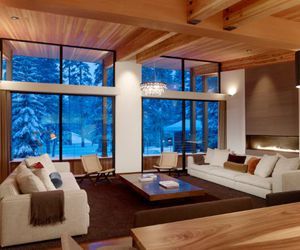 big windows, living room, and winter image
