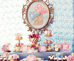 alice in wonderland, roses, and cake image