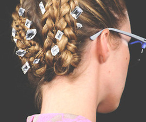 braid, hairdo, and diamonds image