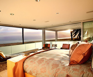 bed room, room, and ocean image